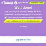 moto e5 quizz answers