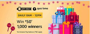 amazon pay  quiz time 8am-12pm quiz answers today