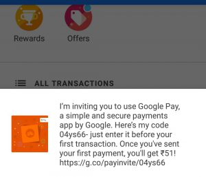 Google Pay referral code