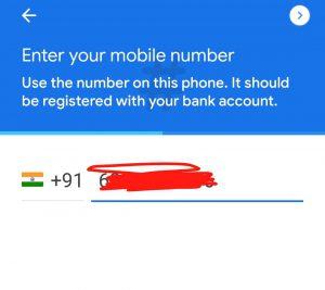 enter mobile number in Google pay