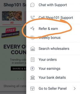 Click on refer and earn