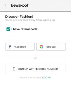 Select i have referral code option