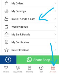 Glowroad my shop invite friends and earn