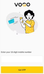 open vogo app and enter mobile number
