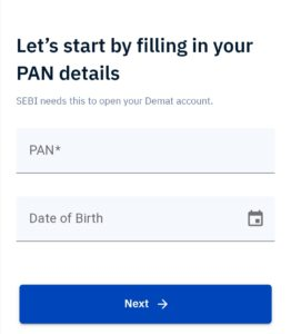 enter your pan and date of birth