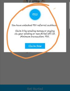 you have unlocked RS.50 referral cashback.