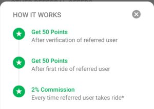 Quick ride refer and earn 100 points