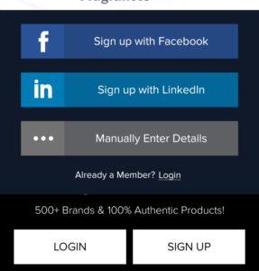 Signup on smytten with Facebook, LinkedIn