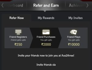 Refer and earn with ace2three