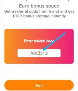 Enter jio cloud referral code
