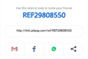 Zebpay referral / promo code