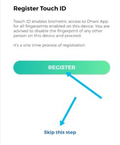 Register with touch id