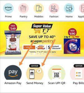 Click on amazon pay option or send money option