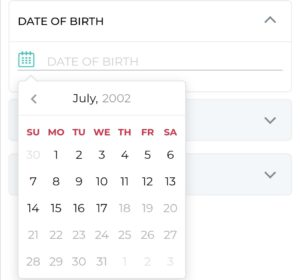 Enter your date of birth