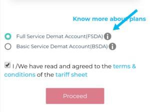 select Full service Demat Account (FSDA)