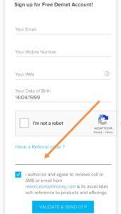 Enter reliance smart money referral code