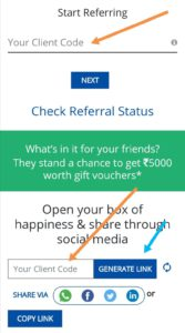 Enter reliance smart money  client id to refer your friends.