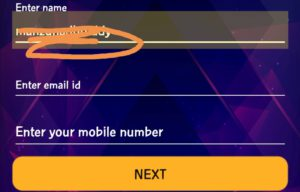 Enter your name, email and mobile number