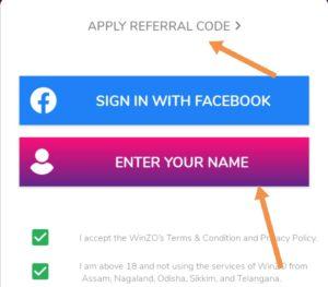 Apply winzo Gold referral code