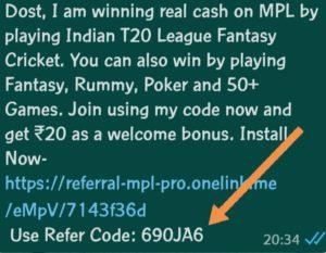 mobile premier league (Mpl pro) referral, promo code
