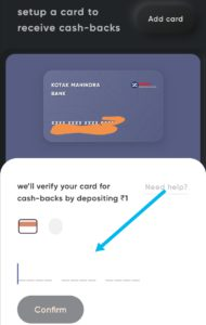 Enter your credit card number. Cred will deposit 1 rupee for cash-back. Confirmation