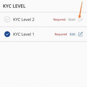 Click on start for level 2 KYC
