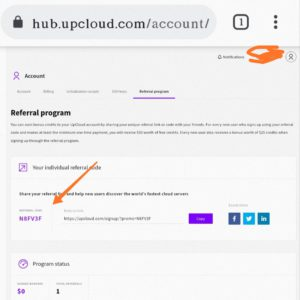 Upcloud refer and earn