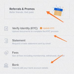 After successfully creating an account. Click on Menu > referrals & promos.
