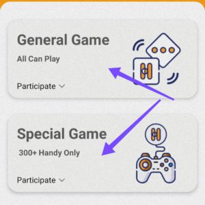 Play general and special games in handypick to win handy
