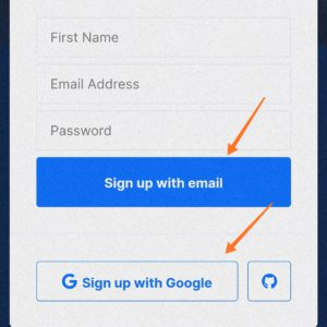 Sign up with your email or with google