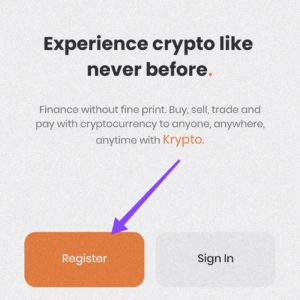 Register for crypto account