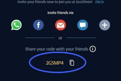 Ace2three (A23) rummy referral code