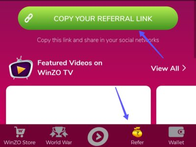 Winzo gold refer and earn