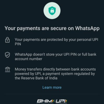 Whatsapp Payments UPI terms and privacy policy